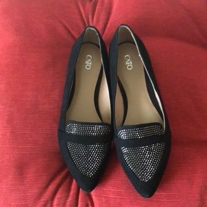 Flat Shoes, Black and Silver, Size 9M